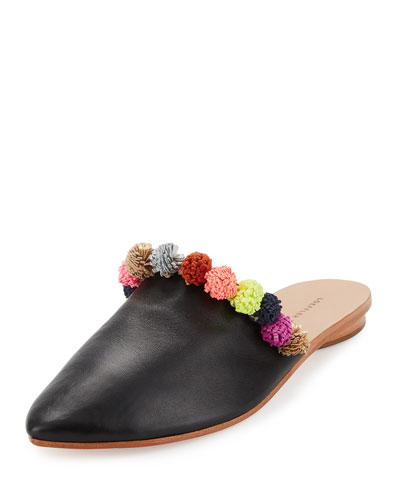 Winnie Pompom Babouche Slipper, Black Pattern