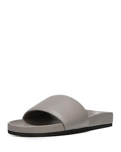 Gavin Leather Pool Slide, Light Gray