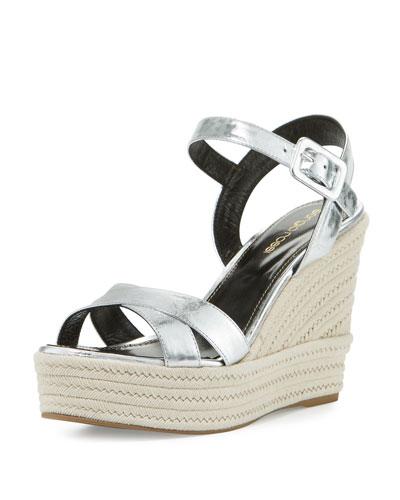 Maui Metallic Espadrille Wedge Sandal, Silver