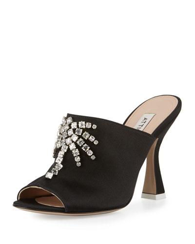 Elena Crystal-Embellished Mule Sandal, Black