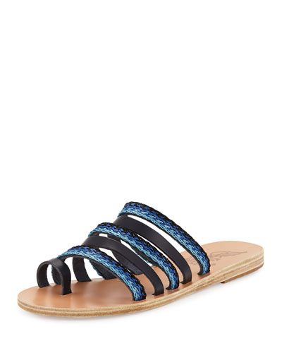 Niki Braided Toe-Ring Slide Sandal, Blue Pattern
