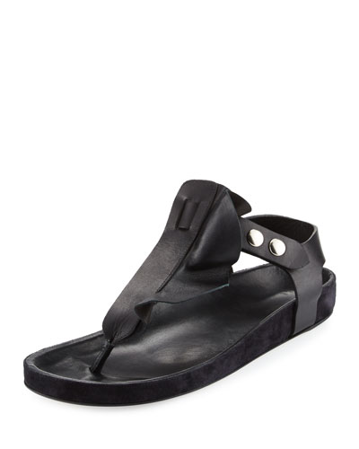 Leakey Flat Leather Thong Sandal, Black