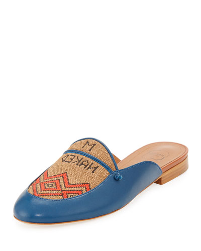 Neva Leather & Textile Flat Mule, Blue