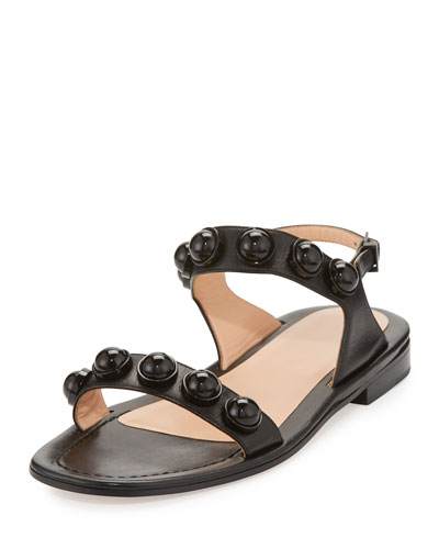 Leather Dome-Studded Sandal, Black