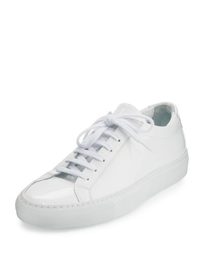 Achilles Patent Leather Sneaker, White