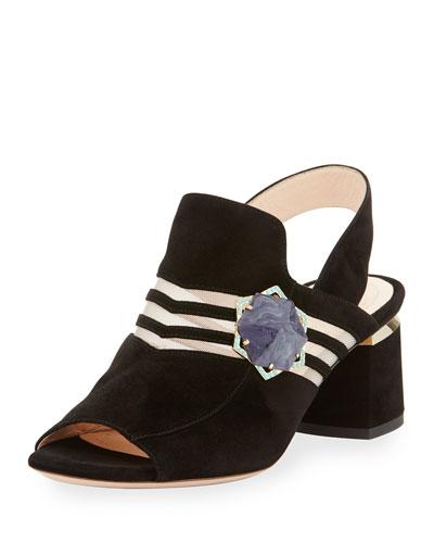Camille Suede Ornament Slingback Sandal, Black