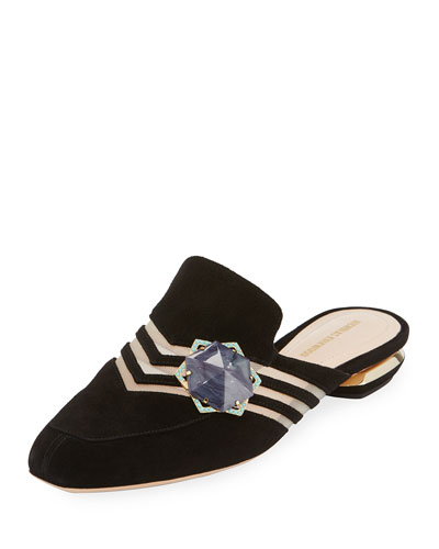 Camille Suede Ornament Mule, Black