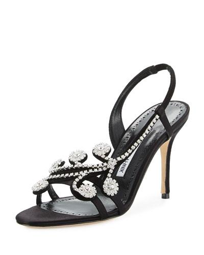 Fernusan Crystal-Embellished Slingback Sandal, Black