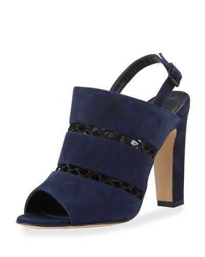 Aspendum Suede Net Mule Sandals, Navy