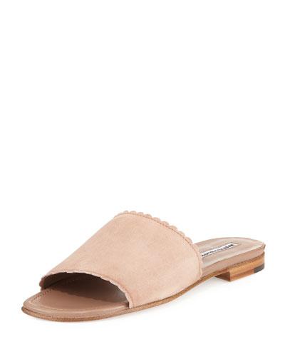 Arcara Scalloped-Edge Suede Flat Slide Sandal, Beige