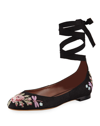 Daria Embroidered Linen Ankle-Wrap Flat, Black Pattern