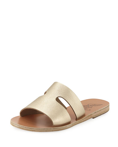 Apteros Cutout Leather Flat Slide Sandal, Sand