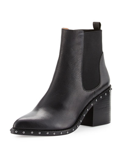 Renee Leather Ankle Boot, Black