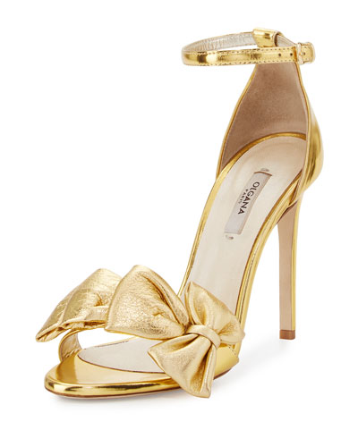 Delicate Candice Leather Sandal, Gold