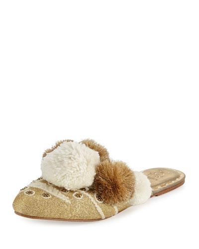 Iris Pompom-Embellished Mule Slide, Gold