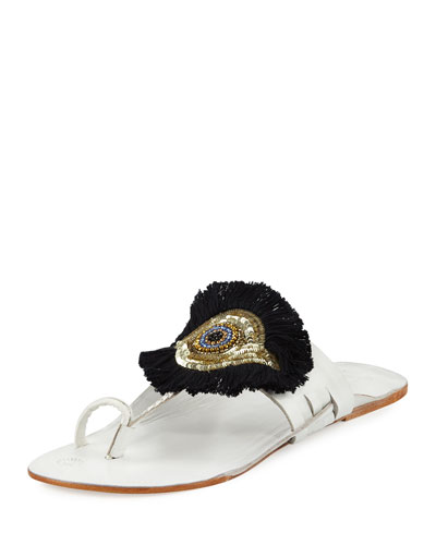 Evil Eye Medallion Flat Slide Sandal, White