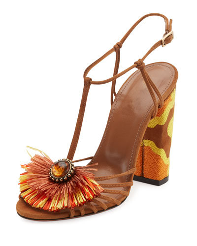 Samba Raffia T-Strap 105mm Sandal, Luggage