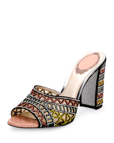 Geometric Crystal-Studded Mule Sandal, Multi