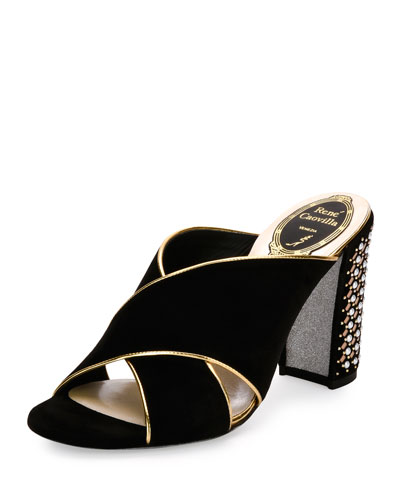Studded Suede Block-Heel Mule Pump, Black