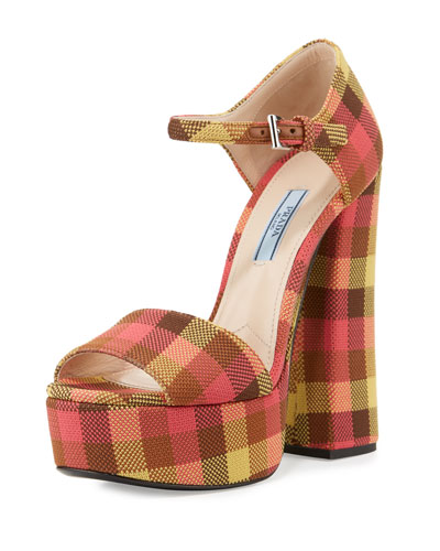 Jacquard Platform Ankle-Wrap Sandal