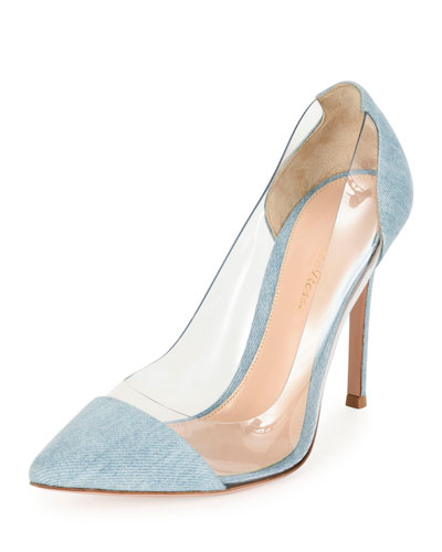 Denim Illusion Cap-Toe Pump, Gray