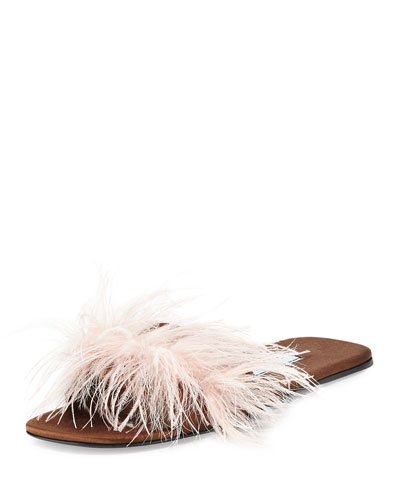 Feather-Embellished Flat Mule Sandal, Brown/Pink