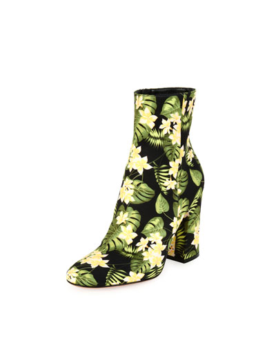 Floral-Print Block-Heel Boots, Yellow