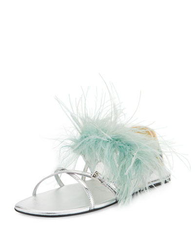 Feather-Embellished Crisscross Flat Sandal, Green/Silver