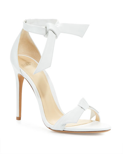 Clarita Knotted Leather Sandals, White