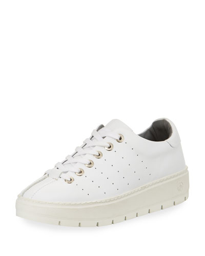 Linden Leather Platform Sneaker, White