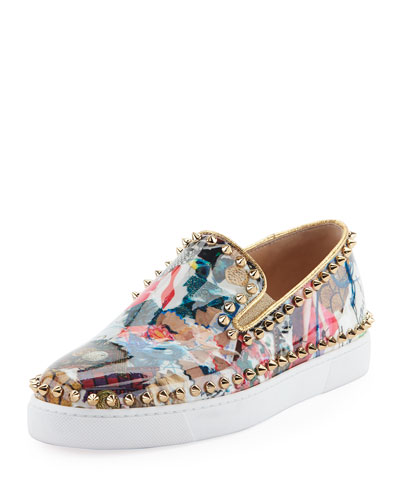 Pik Boat Spiked Patent Flat Sneaker, Multi