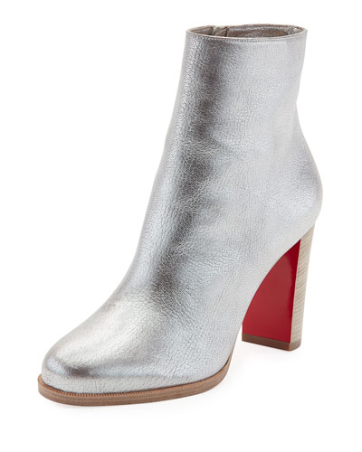 Adox Metallic Stack-Heel Red Sole Bootie, Gray