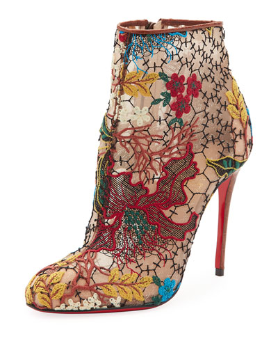 Miss Tennis Embroidered Lace Red Sole Bootie, Brown