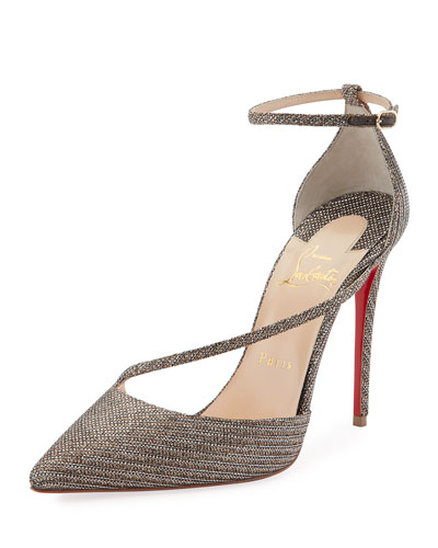 Fliketta Glitter Chain Red Sole Pump, Silver