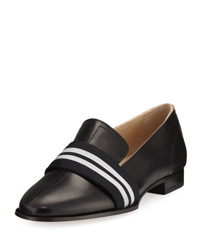Amber Striped-Web Leather Loafer, Black