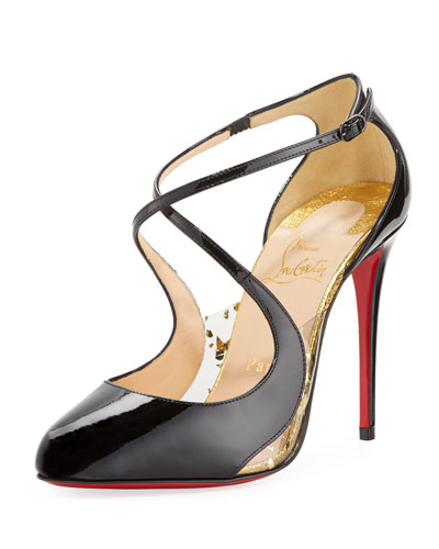 Crossettinetta Patent Red Sole Pump, Black