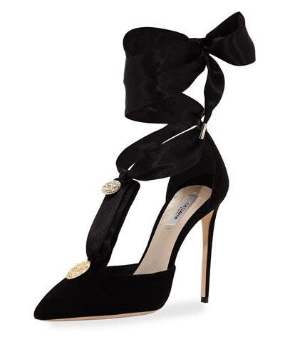 L'Amiral Suede Ankle-Tie Pump, Black