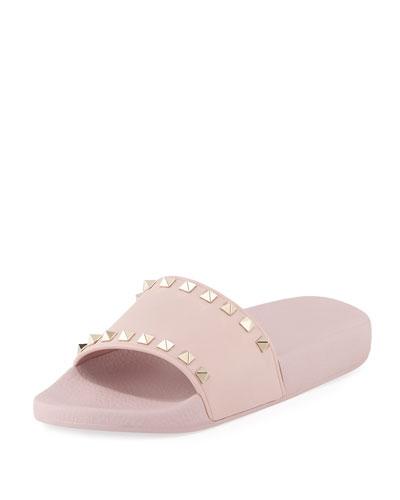 Rockstud Pool Slide Sandal, Pink
