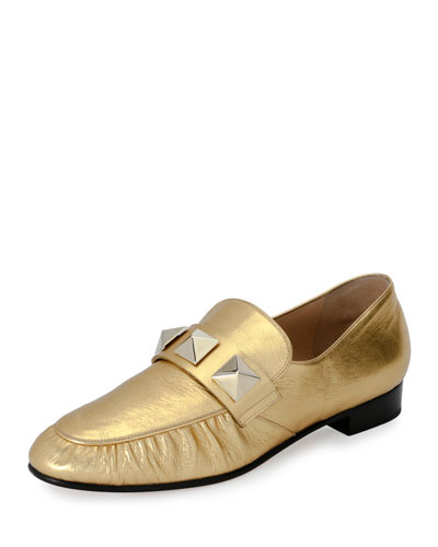 Rockstud Metallic Leather Loafer, Gold