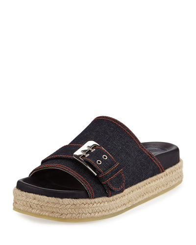 Nida Denim Flatform Slide Espadrille, Dark Blue