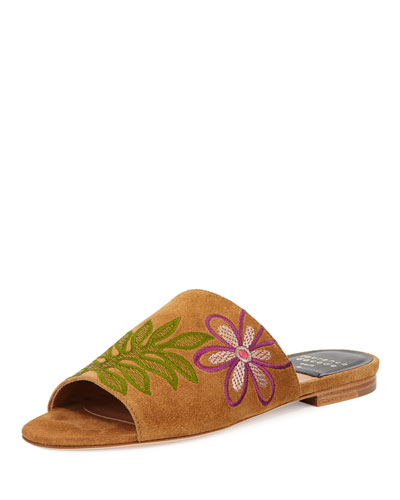 Nice Embroidered Flat Suede Slide Sandal, Camel