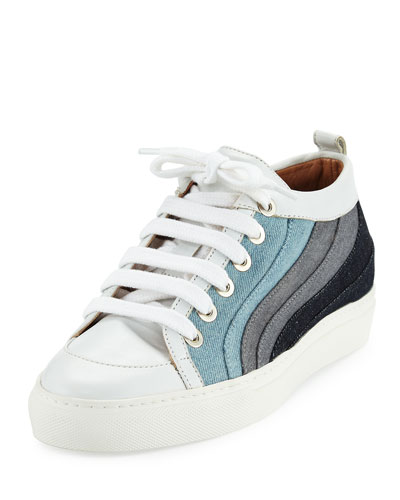 Kool Patchwork Denim Low-Top Sneakers, Multicolor