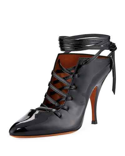 Lace-Up Patent 100mm Pump, Black