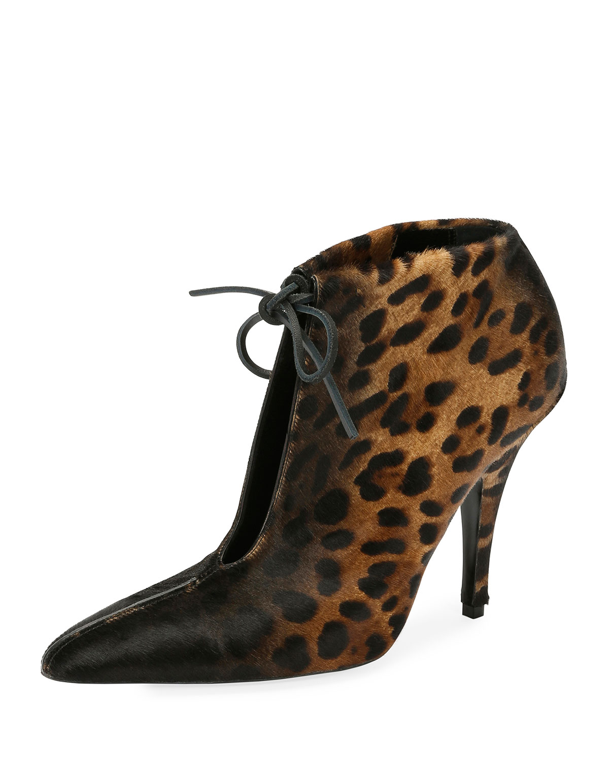 Leopard-Print Ankle-Tie 105mm Bootie, Black/Multi