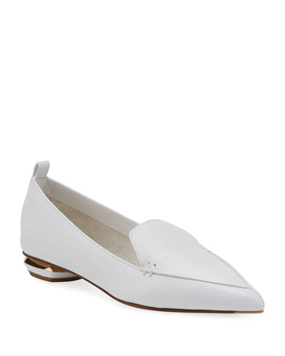 Beya Flat White Leather Loafer