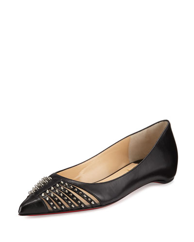 Baretta Studded Red Sole Skimmer Flat, Black
