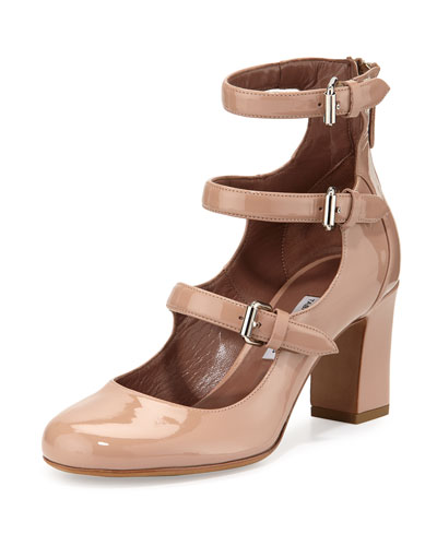 Ginger Patent Three-Strap Pump, Flesh