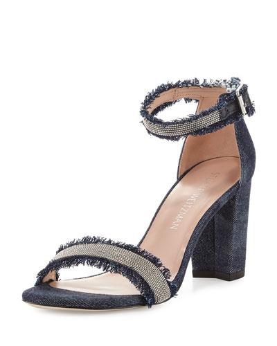 Chaingang Frayed Ankle-Wrap Sandal, Indigo