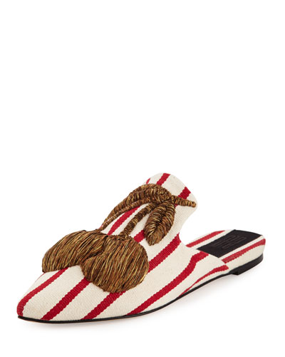 Ciliegia Striped Mule Slide, White/Red