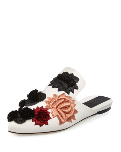 Saponaria Floral Embroidered Mule, White/Multi